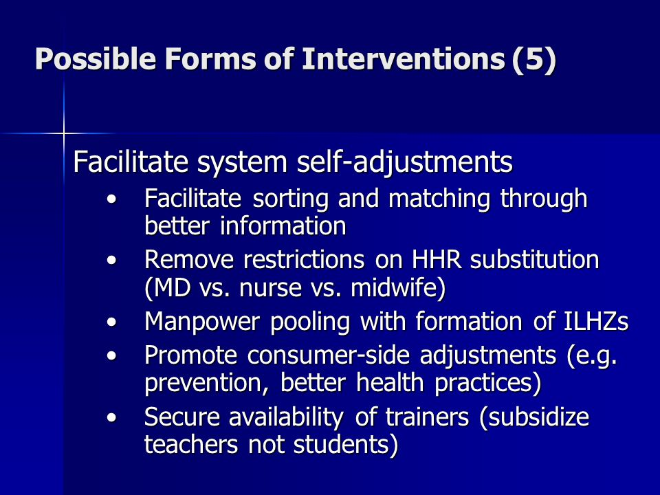 Possible Forms of Interventions (5) Facilitate system self-adjustments Facilitate sorting and matching through better informationFacilitate sorting and matching through better information Remove restrictions on HHR substitution (MD vs.