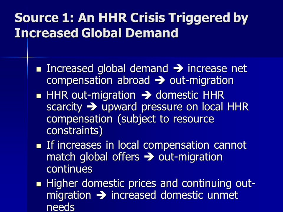 Source 1: An HHR Crisis Triggered by Increased Global Demand Increased global demand  increase net compensation abroad  out-migration Increased global demand  increase net compensation abroad  out-migration HHR out-migration  domestic HHR scarcity  upward pressure on local HHR compensation (subject to resource constraints) HHR out-migration  domestic HHR scarcity  upward pressure on local HHR compensation (subject to resource constraints) If increases in local compensation cannot match global offers  out-migration continues If increases in local compensation cannot match global offers  out-migration continues Higher domestic prices and continuing out- migration  increased domestic unmet needs Higher domestic prices and continuing out- migration  increased domestic unmet needs