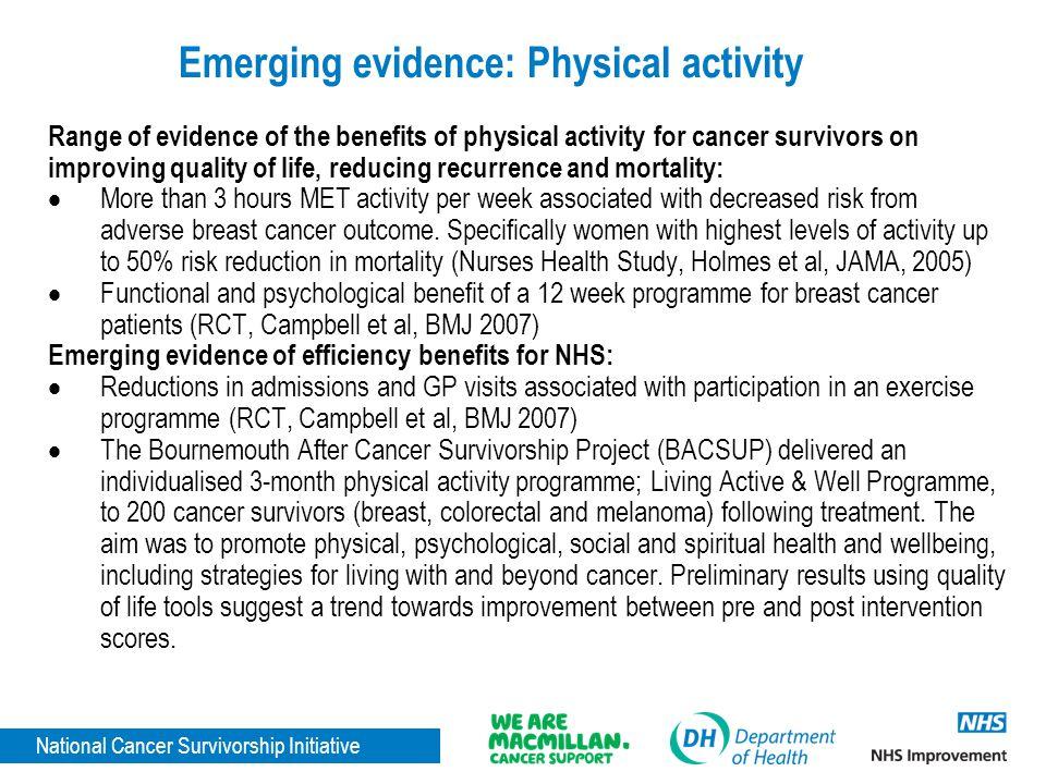 National Cancer Survivorship Initiative Emerging evidence: Physical activity Range of evidence of the benefits of physical activity for cancer survivo