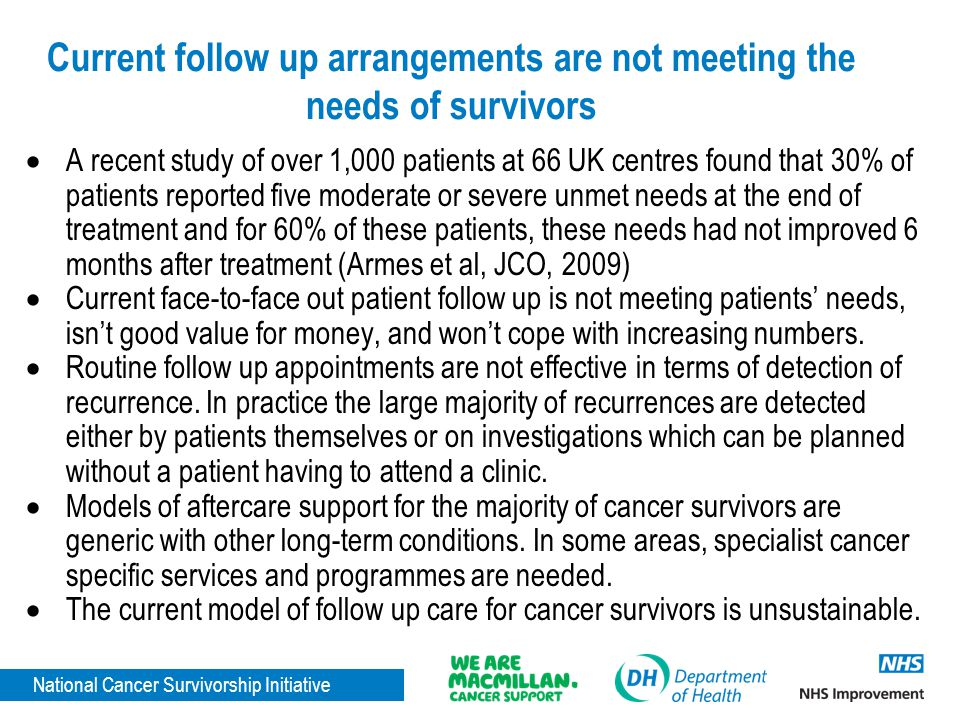 National Cancer Survivorship Initiative Current follow up arrangements are not meeting the needs of survivors  A recent study of over 1,000 patients