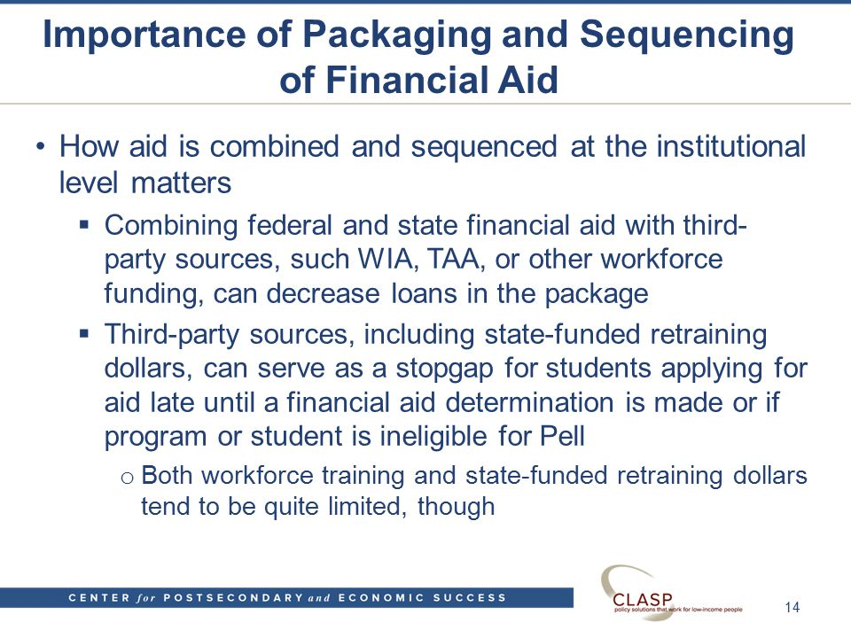 Importance of Packaging and Sequencing of Financial Aid How aid is combined and sequenced at the institutional level matters  Combining federal and state financial aid with third- party sources, such WIA, TAA, or other workforce funding, can decrease loans in the package  Third-party sources, including state-funded retraining dollars, can serve as a stopgap for students applying for aid late until a financial aid determination is made or if program or student is ineligible for Pell o Both workforce training and state-funded retraining dollars tend to be quite limited, though 14