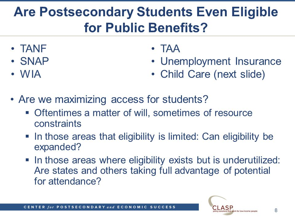 Are Postsecondary Students Even Eligible for Public Benefits.