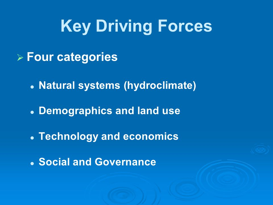 Key Driving Forces   Four categories Natural systems (hydroclimate) Demographics and land use Technology and economics Social and Governance