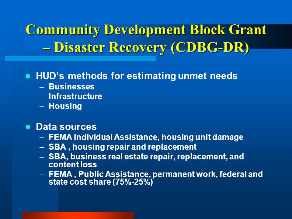 Community Development Block Grant – Disaster Recovery (CDBG-DR) Applications submitted online –Intelligrants Management system - Demonstration