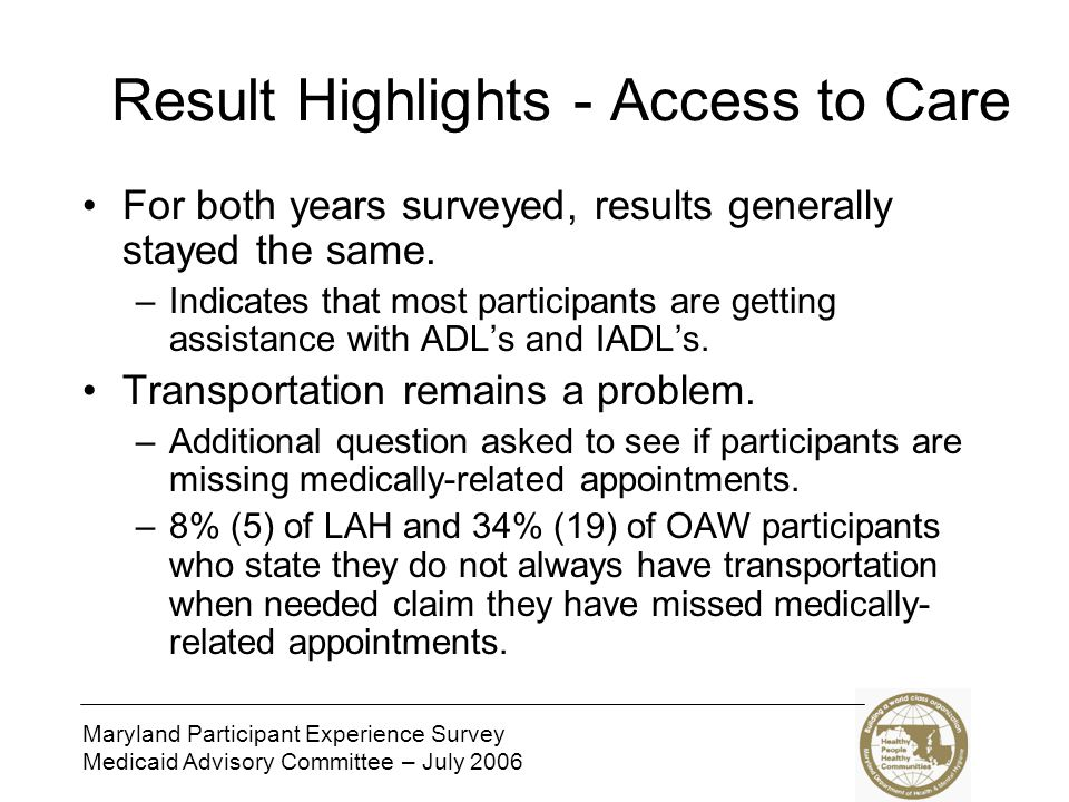 Maryland Participant Experience Survey Medicaid Advisory Committee – July 2006 Result Highlights – Choice and Control In 2005, we asked participants to name their case manager.