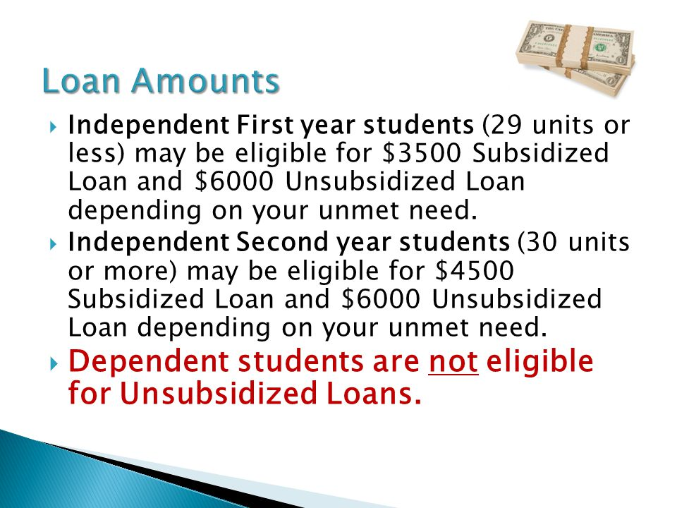  Independent First year students (29 units or less) may be eligible for $3500 Subsidized Loan and $6000 Unsubsidized Loan depending on your unmet need.