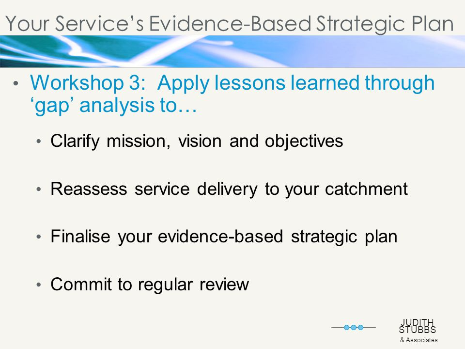 JUDITH STUBBS & Associates Your Service's Evidence-Based Strategic Plan Workshop 3: Apply lessons learned through 'gap' analysis to… Clarify mission, vision and objectives Reassess service delivery to your catchment Finalise your evidence-based strategic plan Commit to regular review