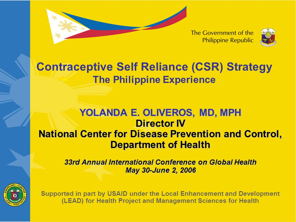 At the national level: formulation of the national policy and implementing guidelines coordination with Local Government Units develop complementary means of financing expands complementary privates sources Because basic health services in the Philippines were devolved in 1991, the Phil.