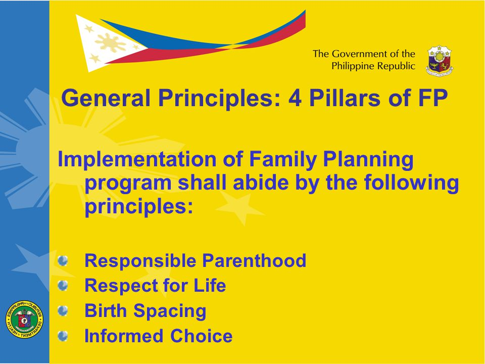 Implementation of Family Planning program shall abide by the following principles: Responsible Parenthood Respect for Life Birth Spacing Informed Choice General Principles: 4 Pillars of FP