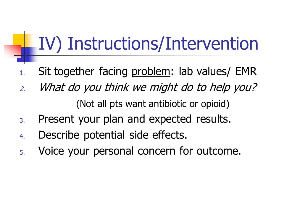 IV) Instructions/Intervention 1.Sit together facing problem: lab values/ EMR 2.