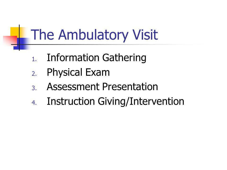 The Ambulatory Visit 1. Information Gathering 2. Physical Exam 3.