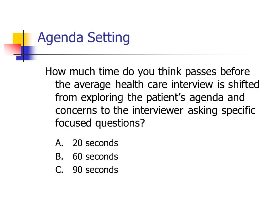 Agenda Setting How much time do you think passes before the average health care interview is shifted from exploring the patient's agenda and concerns to the interviewer asking specific focused questions.