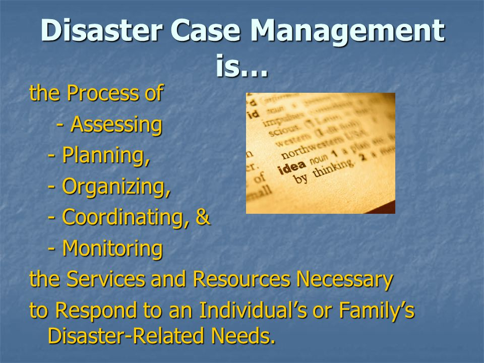 the Process of - Assessing - Assessing - Planning, - Organizing, - Organizing, - Coordinating, & - Monitoring the Services and Resources Necessary to Respond to an Individual's or Family's Disaster-Related Needs.