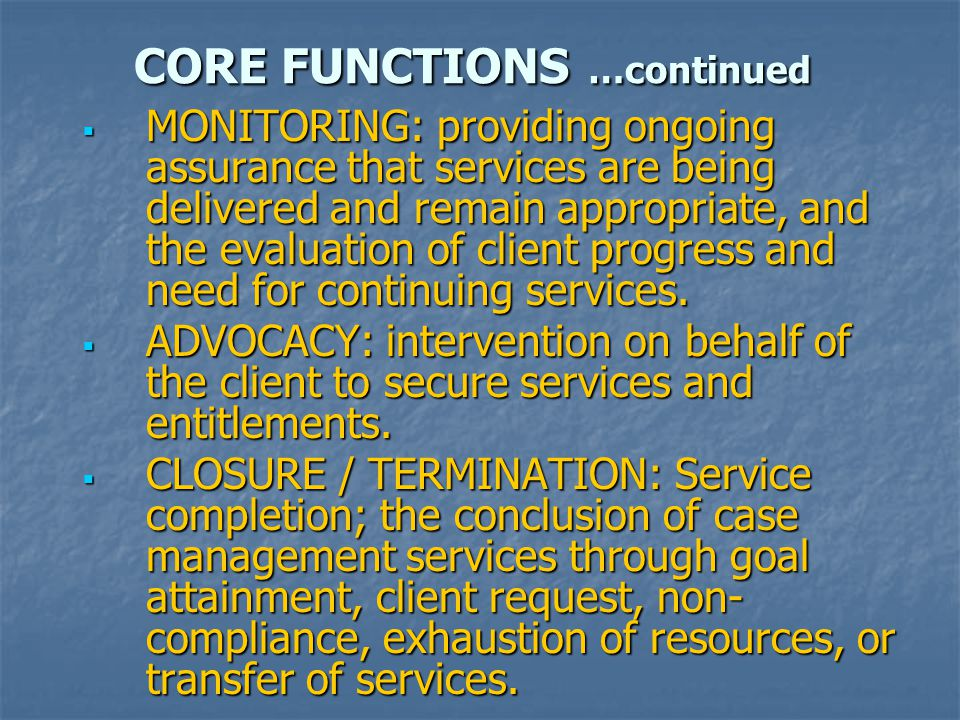 CORE FUNCTIONS …continued  MONITORING: providing ongoing assurance that services are being delivered and remain appropriate, and the evaluation of client progress and need for continuing services.