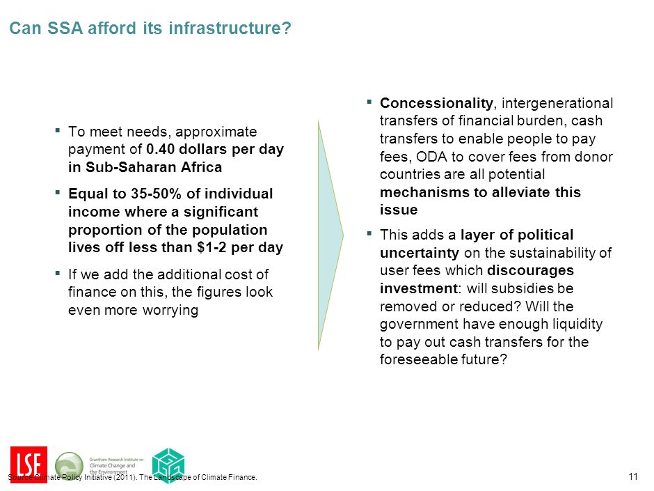 ▪ To meet needs, approximate payment of 0.40 dollars per day in Sub-Saharan Africa ▪ Equal to 35-50% of individual income where a significant proportion of the population lives off less than $1-2 per day ▪ If we add the additional cost of finance on this, the figures look even more worrying 11 Source Climate Policy Initiative (2011).