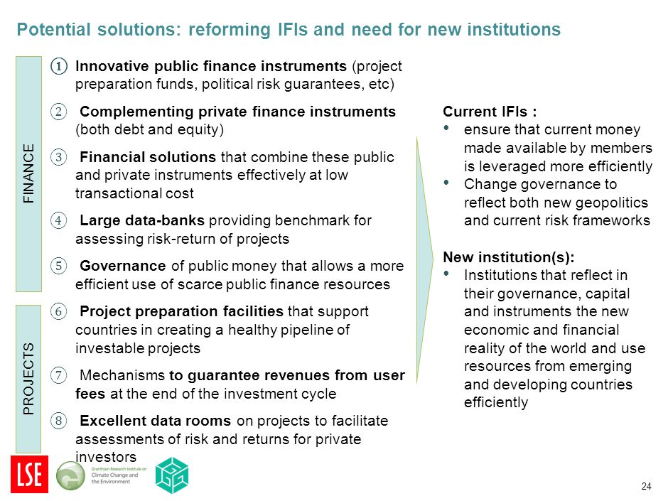 ① Innovative public finance instruments (project preparation funds, political risk guarantees, etc) ② Complementing private finance instruments (both
