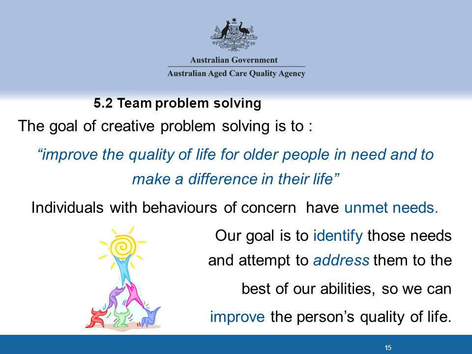 "5.2 Team problem solving The goal of creative problem solving is to : ""improve the quality of life for older people in need and to make a difference i"