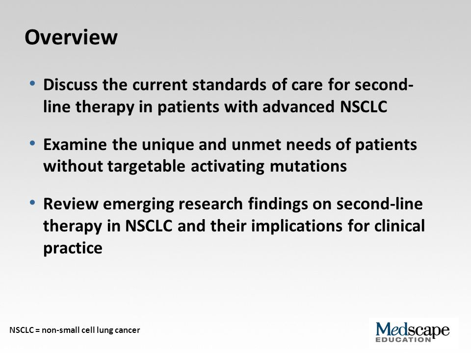 Second-Line Therapy: Outstanding Needs Options for patients with wild-type mutations (EGFR, etc) Predictive biomarkers New agents with efficacy in the second-line setting