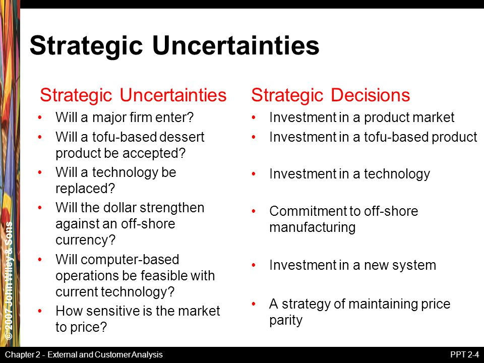 © 2007 John Wiley & Sons Chapter 2 - External and Customer AnalysisPPT 2-4 Strategic Uncertainties Will a major firm enter.