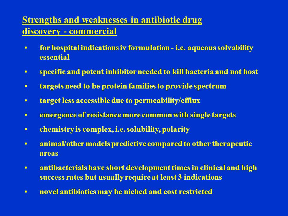 Strengths and weaknesses in antibiotic drug discovery - commercial for hospital indications iv formulation - i.e.