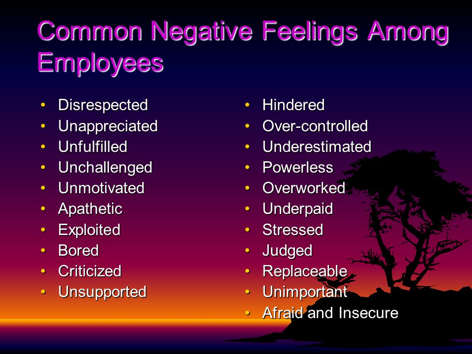 Common Negative Feelings Among Employees DisrespectedDisrespected UnappreciatedUnappreciated UnfulfilledUnfulfilled UnchallengedUnchallenged UnmotivatedUnmotivated ApatheticApathetic ExploitedExploited BoredBored CriticizedCriticized UnsupportedUnsupported HinderedHindered Over-controlledOver-controlled UnderestimatedUnderestimated PowerlessPowerless OverworkedOverworked UnderpaidUnderpaid StressedStressed JudgedJudged ReplaceableReplaceable UnimportantUnimportant Afraid and InsecureAfraid and Insecure