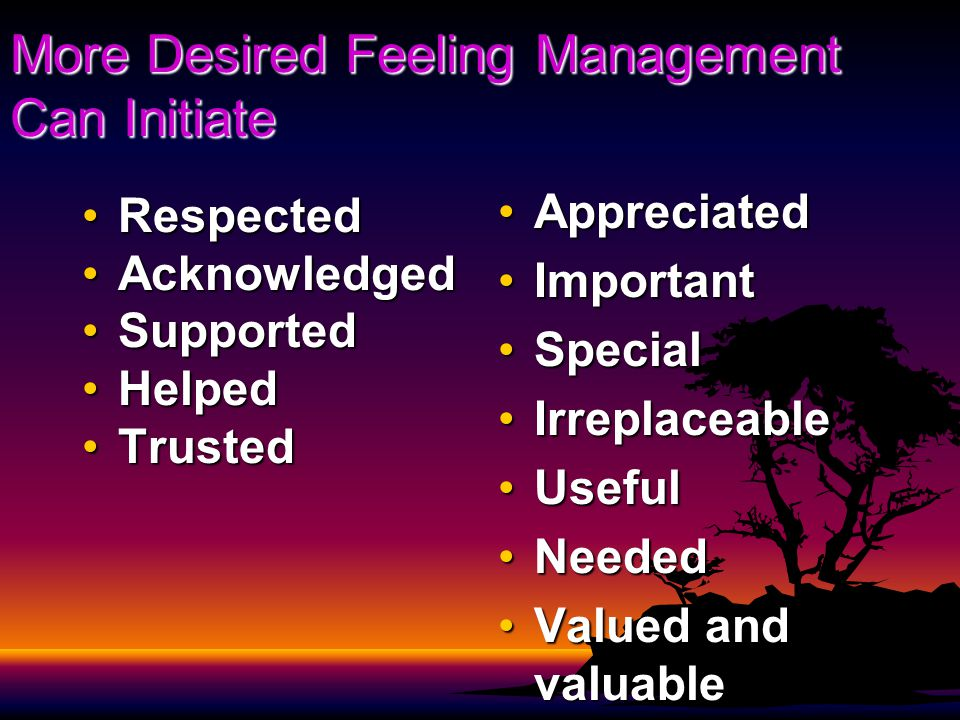 More Desired Feeling Management Can Initiate RespectedRespected AcknowledgedAcknowledged SupportedSupported HelpedHelped TrustedTrusted AppreciatedAppreciated ImportantImportant SpecialSpecial IrreplaceableIrreplaceable UsefulUseful NeededNeeded Valued and valuableValued and valuable