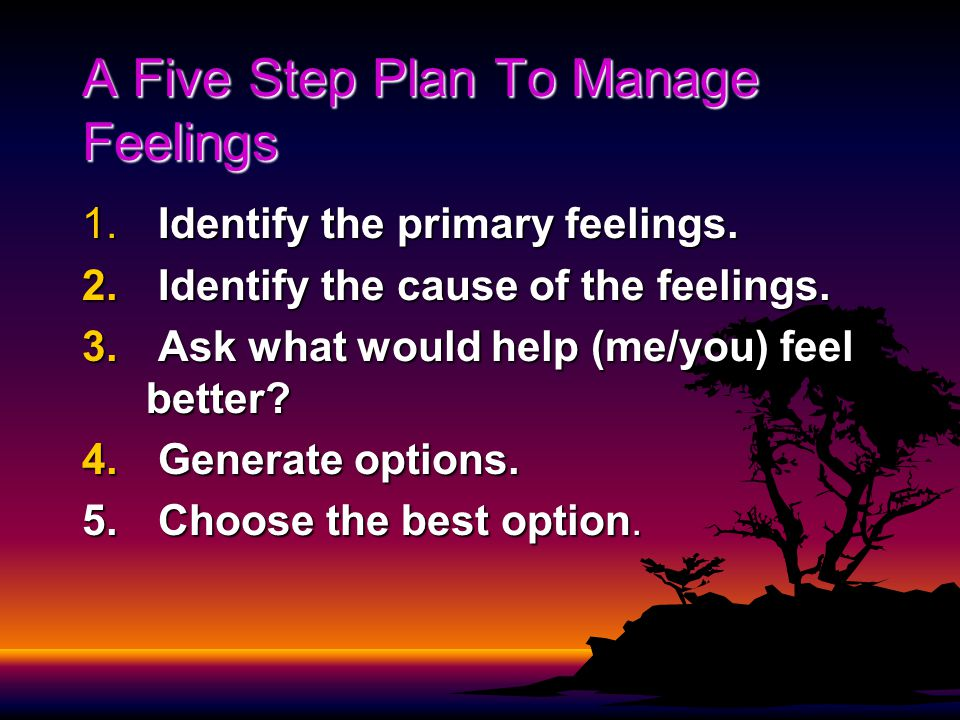 A Five Step Plan To Manage Feelings 1. Identify the primary feelings.