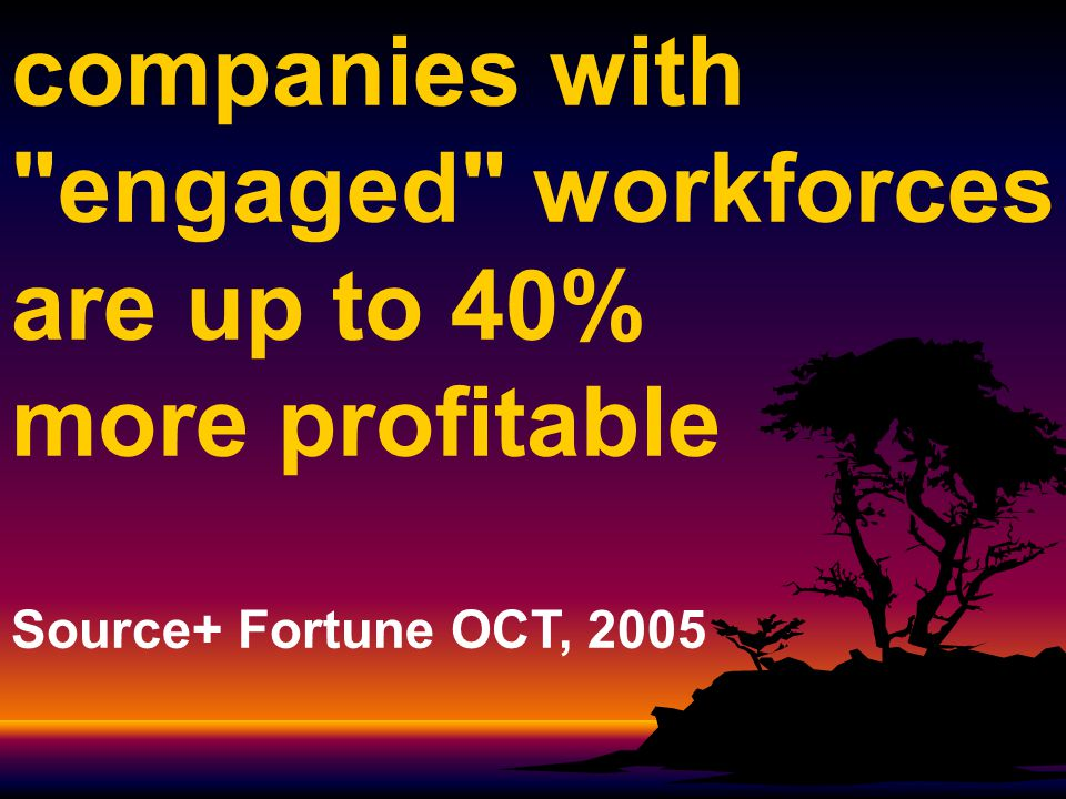 companies with engaged workforces are up to 40% more profitable Source+ Fortune OCT, 2005