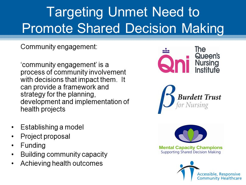 Targeting Unmet Need to Promote Shared Decision Making Community engagement: 'community engagement' is a process of community involvement with decisions that impact them.