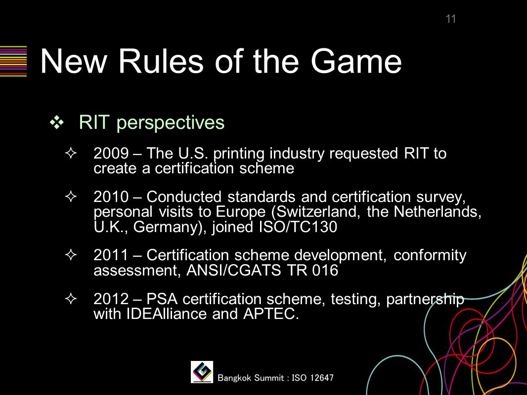 New Rules of the Game ❖ RIT perspectives  2009 – The U.S. printing industry requested RIT to create a certification scheme  2010 – Conducted standar