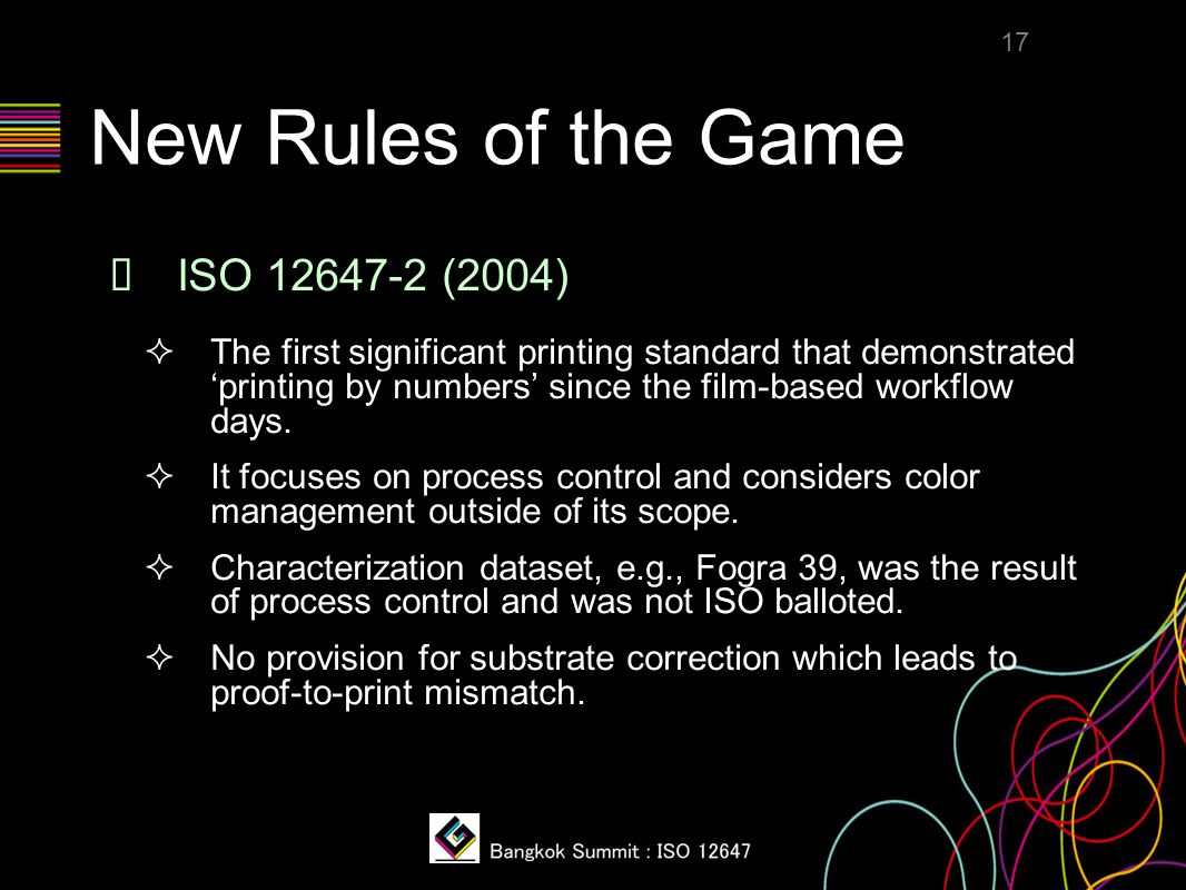New Rules of the Game ❖ ISO 12647-2 (2004)  The first significant printing standard that demonstrated 'printing by numbers' since the film-based work