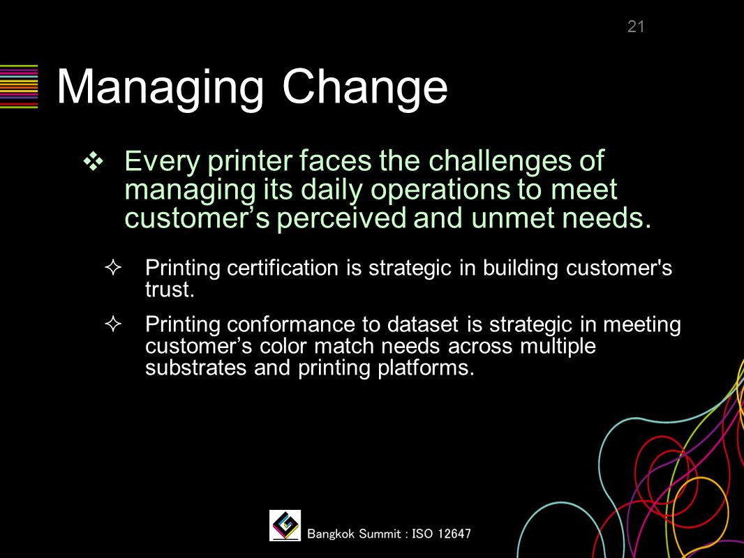 Managing Change ❖ E very printer faces the challenges of managing its daily operations to meet customer's perceived and unmet needs.  Printing certif