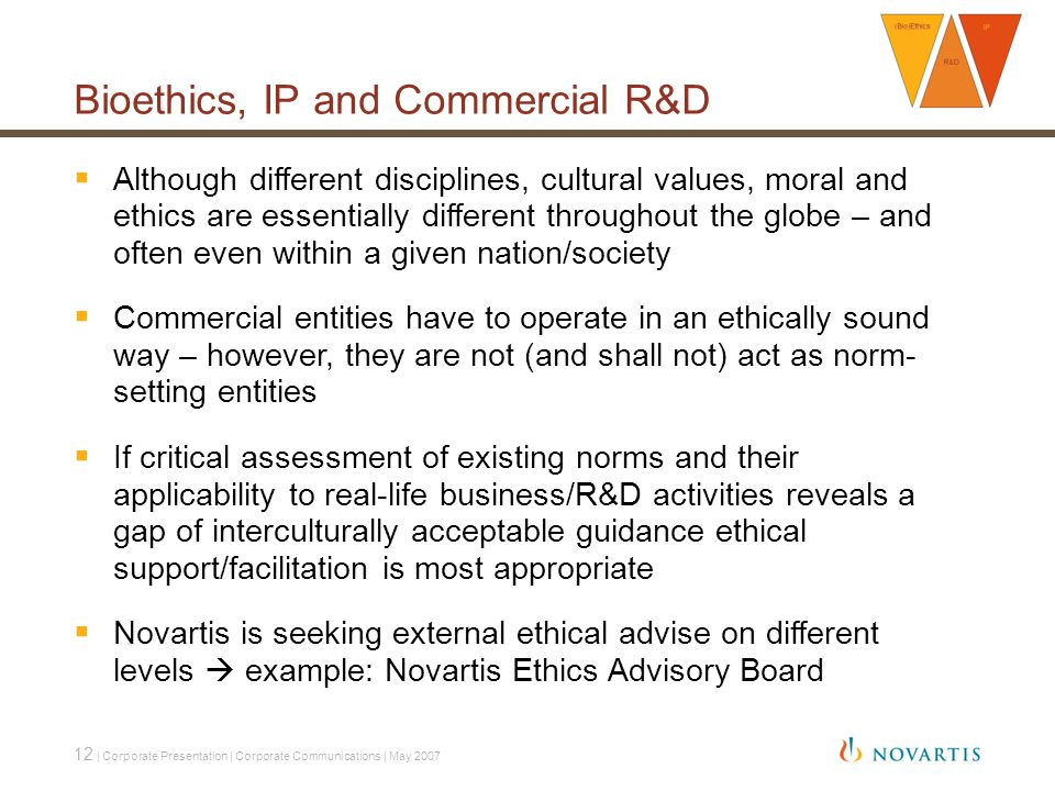 12 | Corporate Presentation | Corporate Communications | May 2007 Bioethics, IP and Commercial R&D  Although different disciplines, cultural values, moral and ethics are essentially different throughout the globe – and often even within a given nation/society  Commercial entities have to operate in an ethically sound way – however, they are not (and shall not) act as norm- setting entities  If critical assessment of existing norms and their applicability to real-life business/R&D activities reveals a gap of interculturally acceptable guidance ethical support/facilitation is most appropriate  Novartis is seeking external ethical advise on different levels  example: Novartis Ethics Advisory Board
