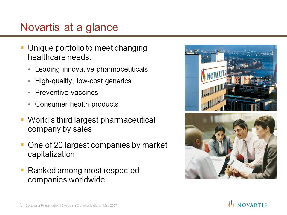 3 | Corporate Presentation | Corporate Communications | May 2007 Novartis at a glance  Unique portfolio to meet changing healthcare needs: Leading innovative pharmaceuticals High-quality, low-cost generics Preventive vaccines Consumer health products  World's third largest pharmaceutical company by sales  One of 20 largest companies by market capitalization  Ranked among most respected companies worldwide