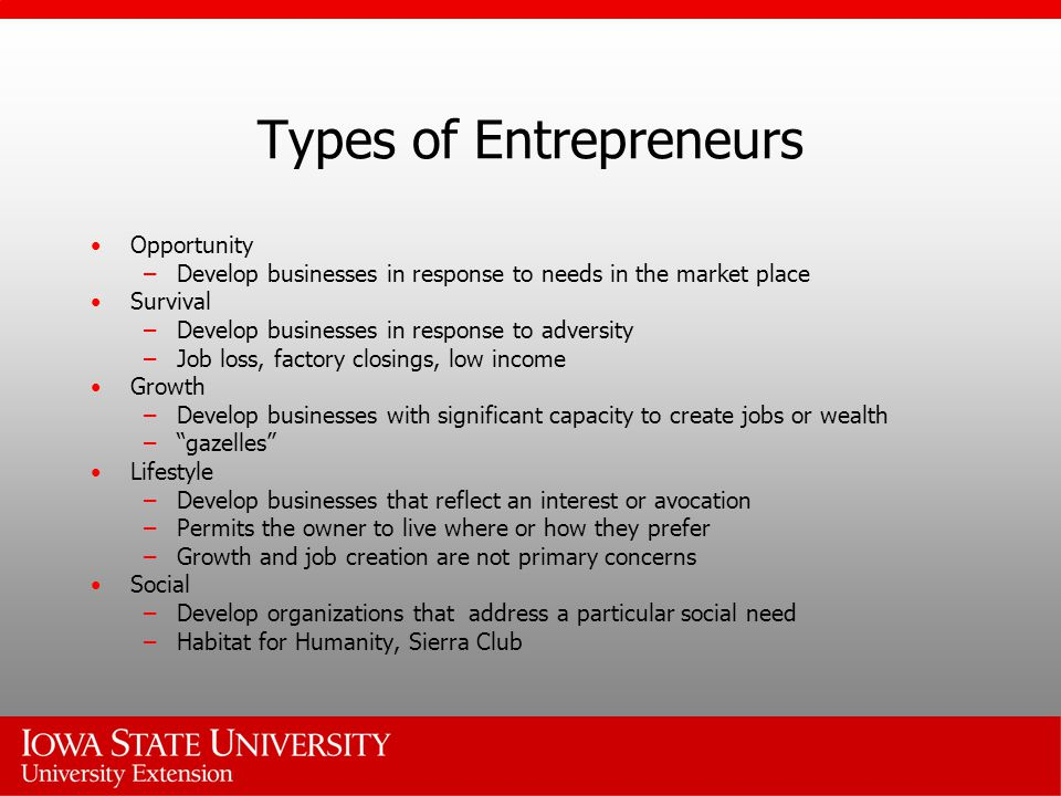 Types of Entrepreneurs Opportunity –Develop businesses in response to needs in the market place Survival –Develop businesses in response to adversity