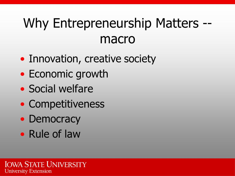 Why Entrepreneurship Matters -- macro Innovation, creative society Economic growth Social welfare Competitiveness Democracy Rule of law