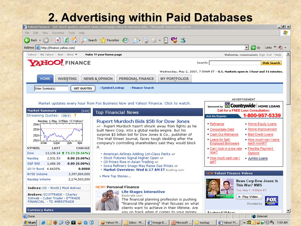 ProQuest Advisory Committee - May 2007 2. Advertising within Paid Databases
