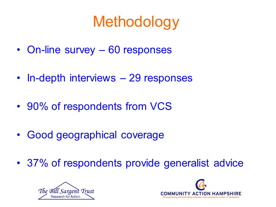 Methodology On-line survey – 60 responses In-depth interviews – 29 responses 90% of respondents from VCS Good geographical coverage 37% of respondents provide generalist advice