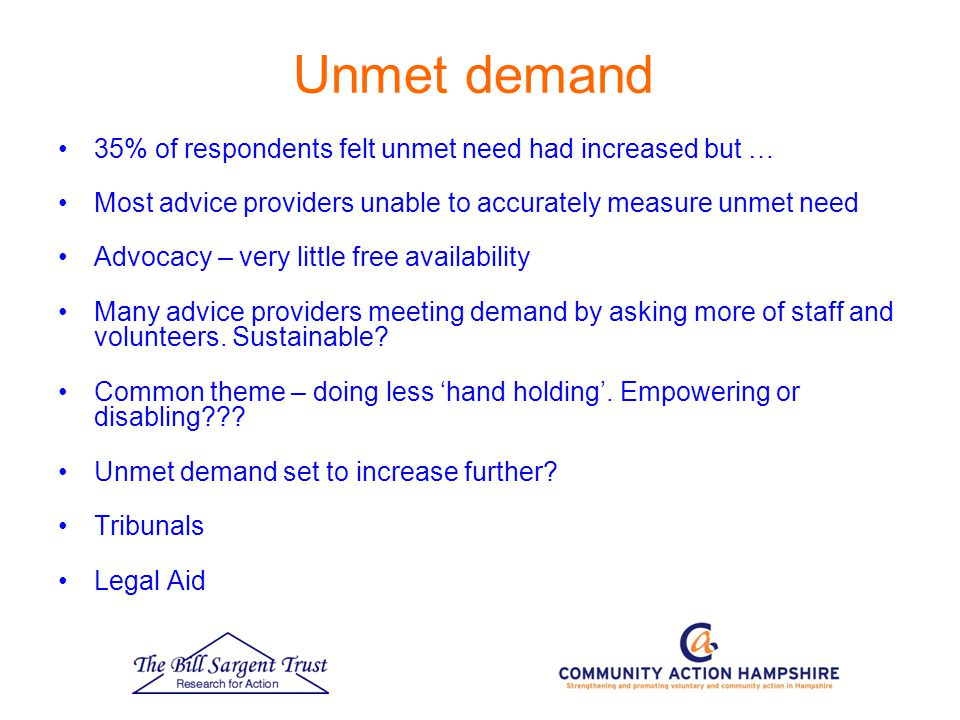 Unmet demand 35% of respondents felt unmet need had increased but … Most advice providers unable to accurately measure unmet need Advocacy – very little free availability Many advice providers meeting demand by asking more of staff and volunteers.