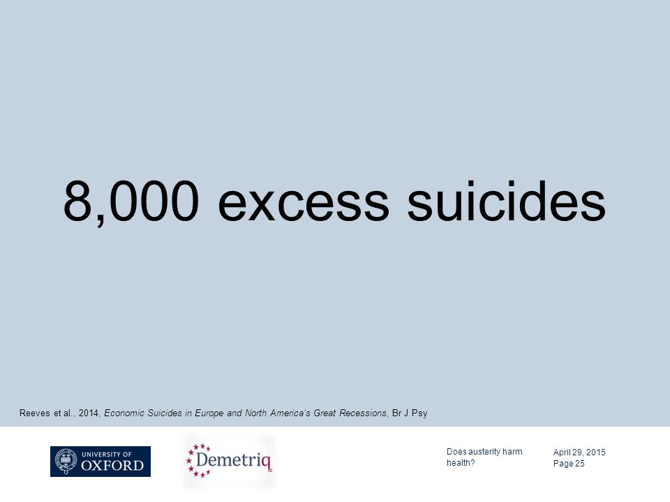 8,000 excess suicides April 29, 2015 Does austerity harm health.