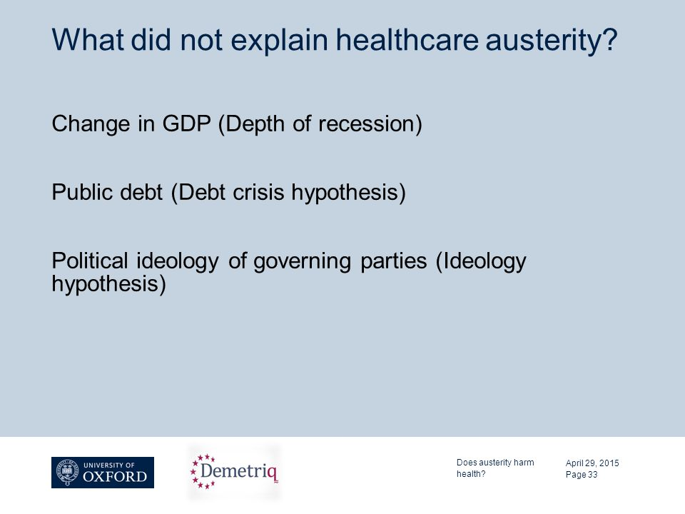 What did not explain healthcare austerity? Change in GDP (Depth of recession) Public debt (Debt crisis hypothesis) Political ideology of governing par