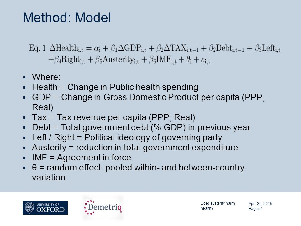 Method: Model  Where:  Health = Change in Public health spending  GDP = Change in Gross Domestic Product per capita (PPP, Real)  Tax = Tax revenue per capita (PPP, Real)  Debt = Total government debt (% GDP) in previous year  Left / Right = Political ideology of governing party  Austerity = reduction in total government expenditure  IMF = Agreement in force  θ = random effect: pooled within- and between-country variation April 29, 2015 Does austerity harm health.