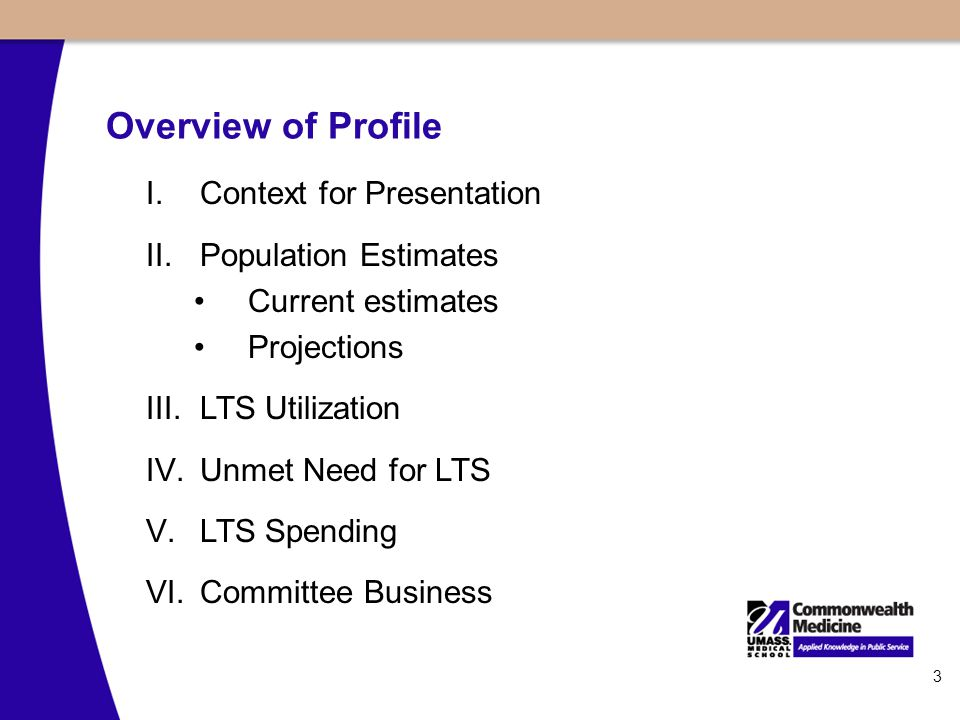3 Overview of Profile I.Context for Presentation II.Population Estimates Current estimates Projections III.LTS Utilization IV.Unmet Need for LTS V.LTS Spending VI.Committee Business