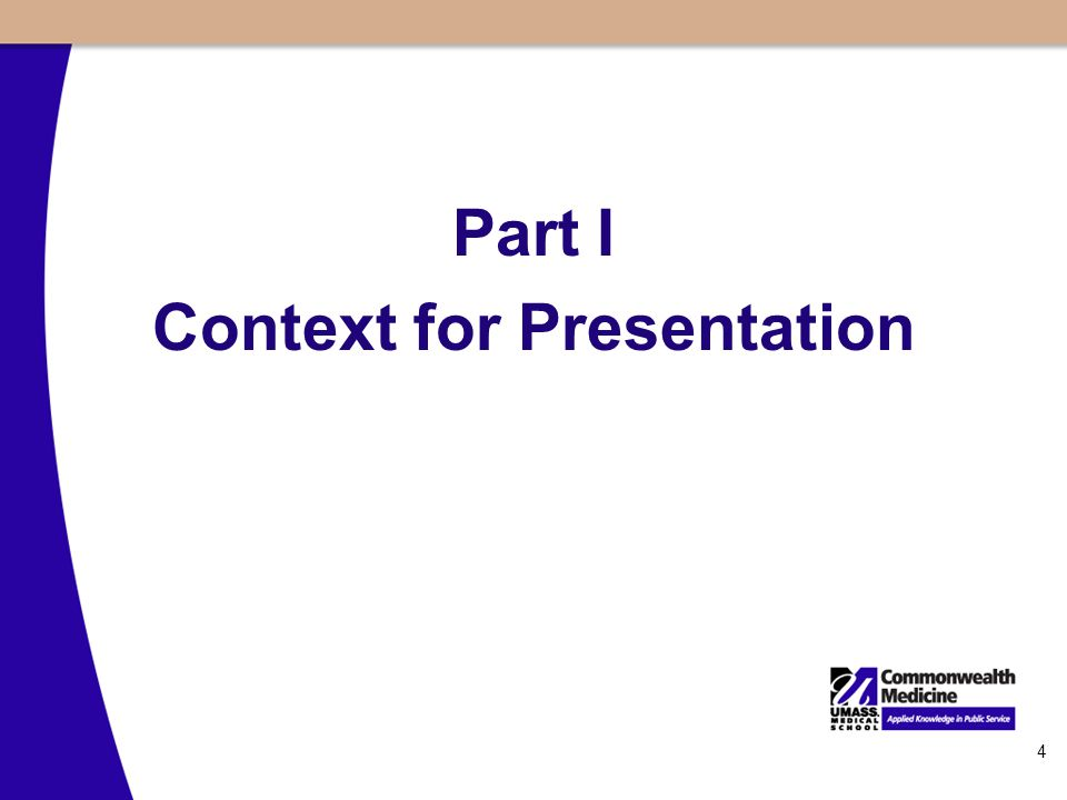 4 Part I Context for Presentation