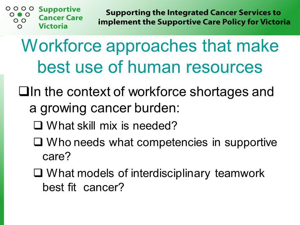 Workforce approaches that make best use of human resources  In the context of workforce shortages and a growing cancer burden:  What skill mix is needed.