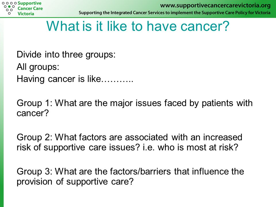 What is it like to have cancer. Divide into three groups: All groups: Having cancer is like………..