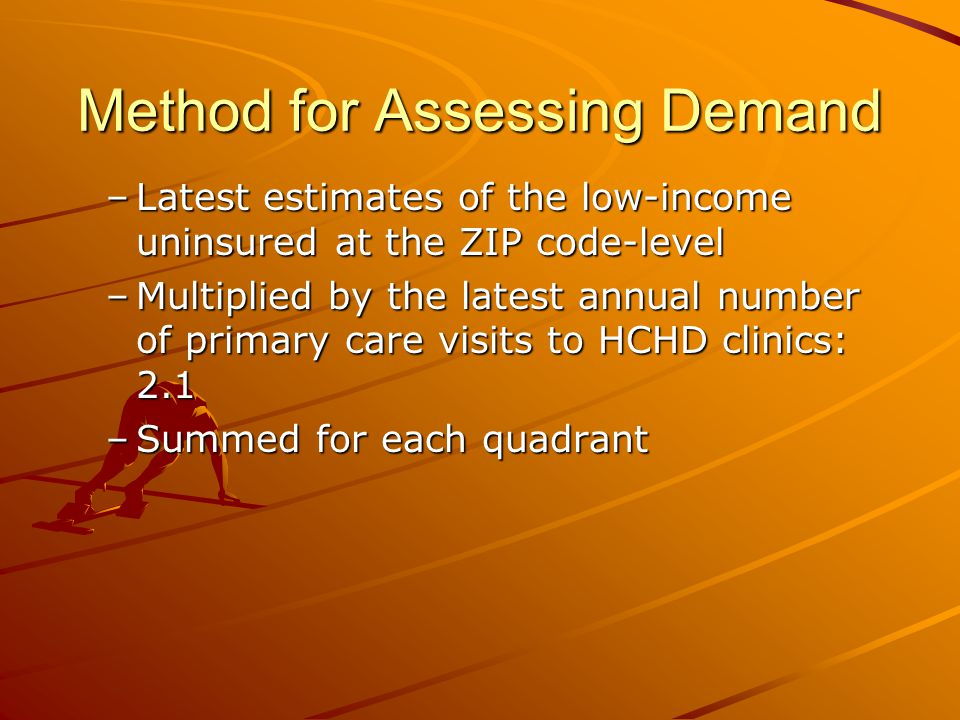 Method for Assessing Demand –Latest estimates of the low-income uninsured at the ZIP code-level –Multiplied by the latest annual number of primary care visits to HCHD clinics: 2.1 –Summed for each quadrant