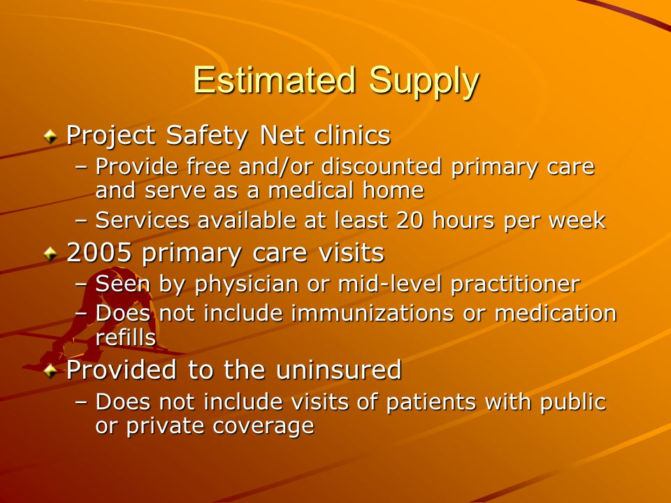 Estimated Supply Project Safety Net clinics –Provide free and/or discounted primary care and serve as a medical home –Services available at least 20 hours per week 2005 primary care visits –Seen by physician or mid-level practitioner –Does not include immunizations or medication refills Provided to the uninsured –Does not include visits of patients with public or private coverage