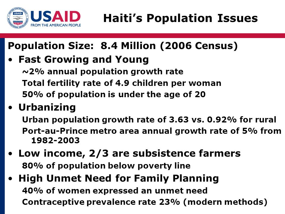 Haiti's Population Issues Population Size: 8.4 Million (2006 Census) Fast Growing and Young ~2% annual population growth rate Total fertility rate of 4.9 children per woman 50% of population is under the age of 20 Urbanizing Urban population growth rate of 3.63 vs.