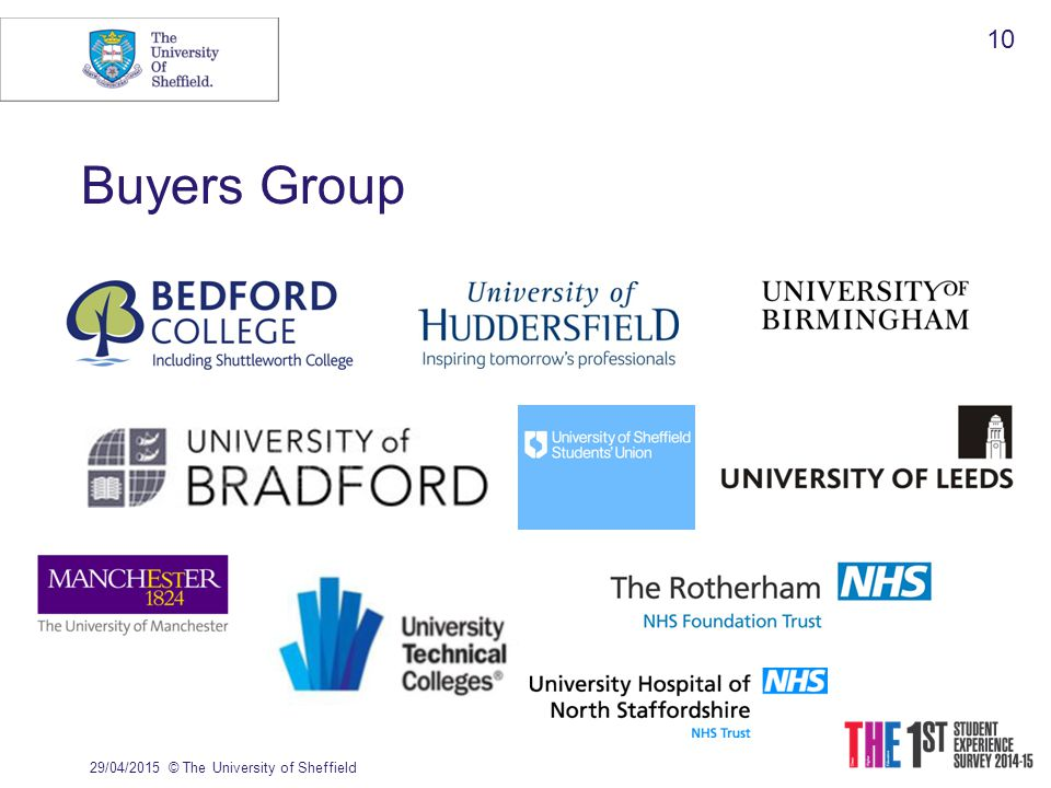 Buyers Group 29/04/2015© The University of Sheffield 10